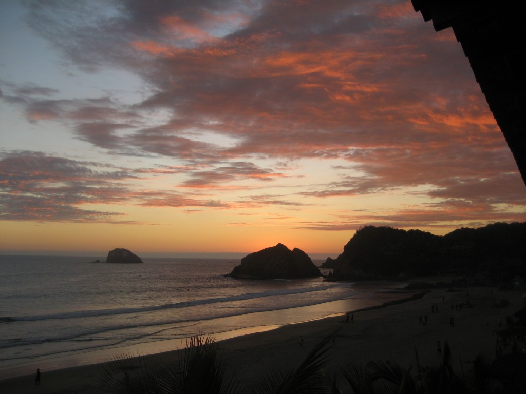 Sunset view from the balcony of Playa Zipolite's Posada Brisa Marina.